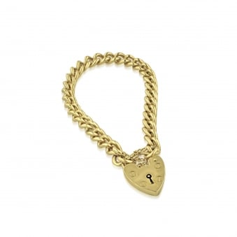 Pre-owned 9ct Gold Curb Charm Bracelet With Padlock