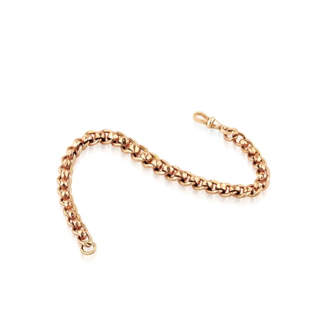 Pre-owned 9ct Rose Gold Graduated Roller Ball Bracelet