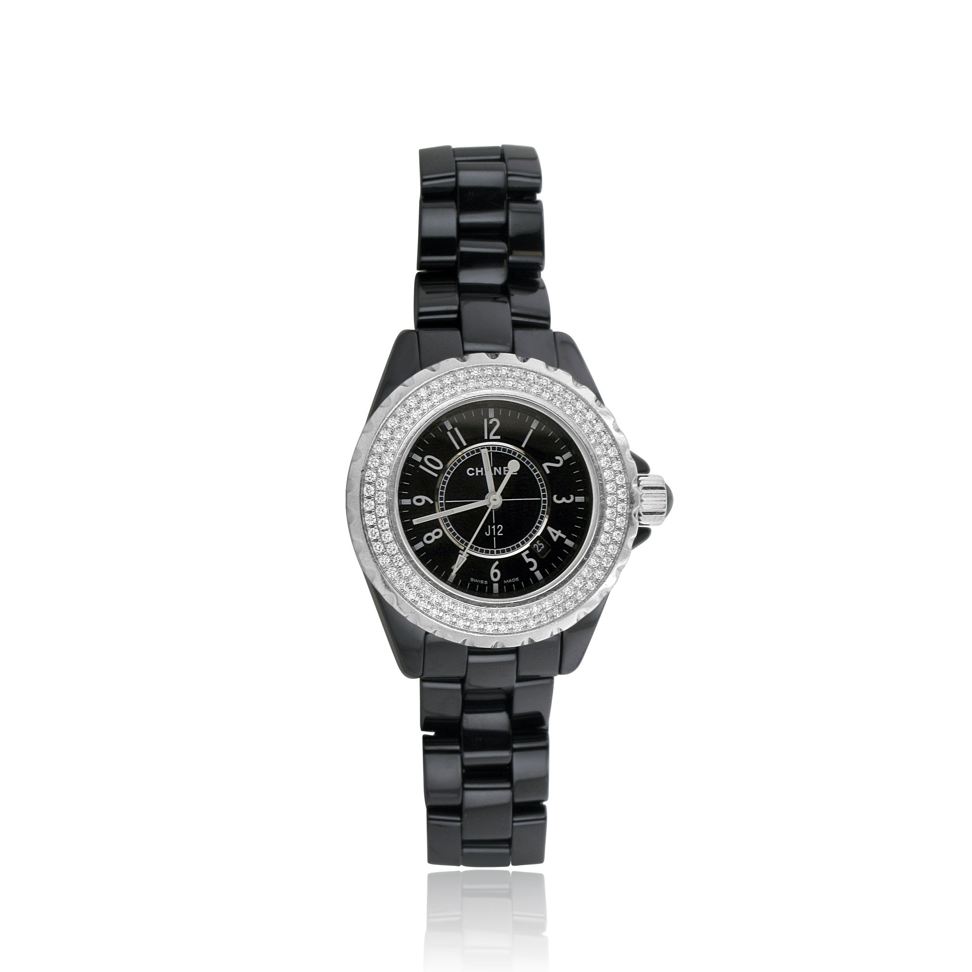 Pre Owned Black Chanel Watch With Diamond Set Dial Bezel