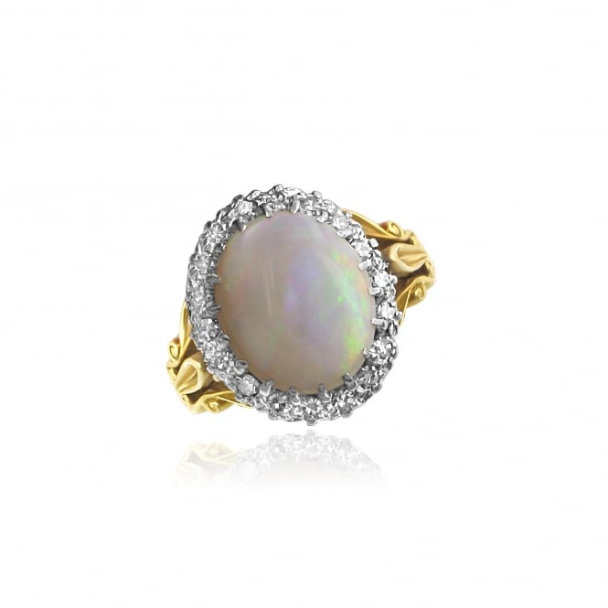 Pre-owned Large Opal and Diamond Gold Cluster Ring