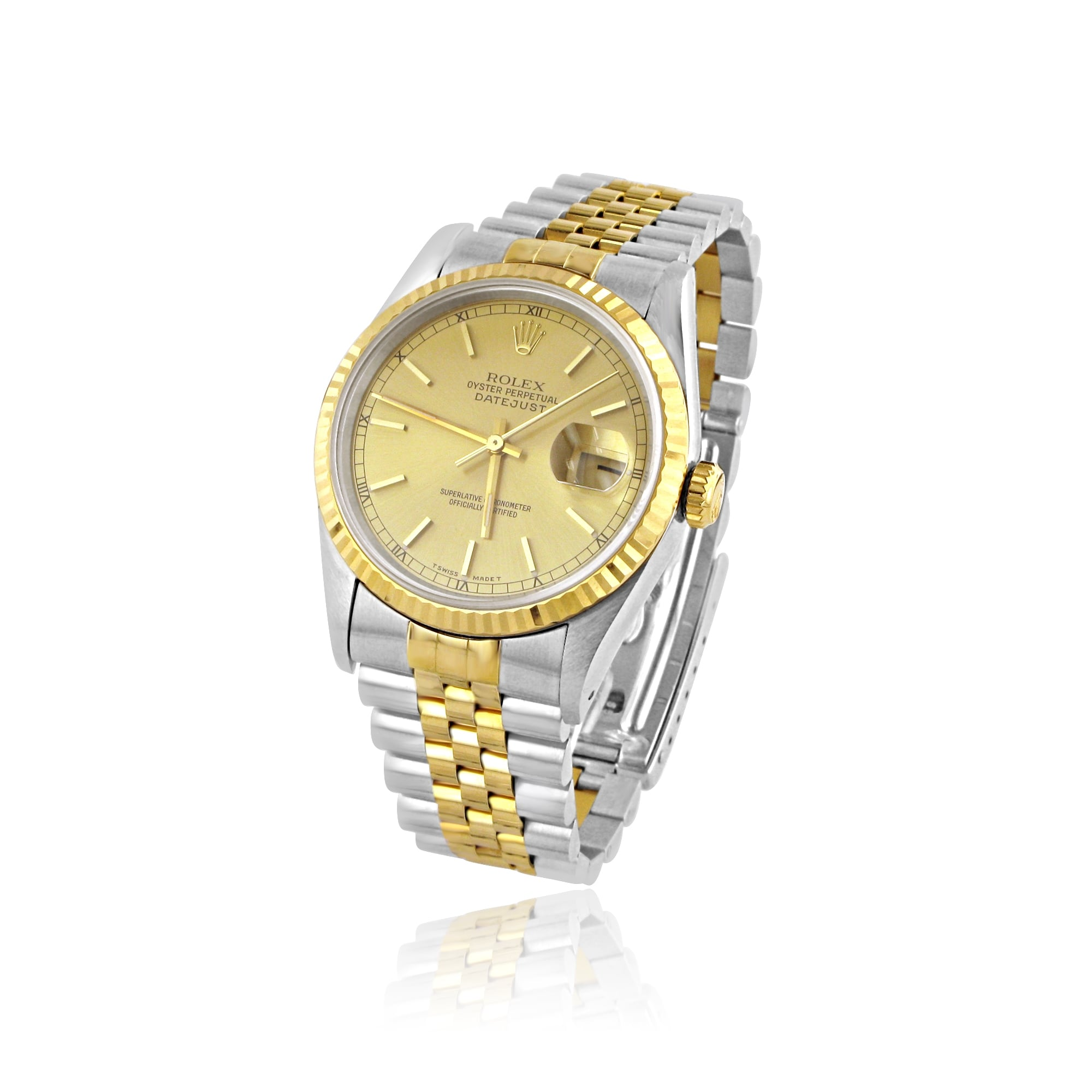 mens steel and 18ct gold rolex oyster perpetual datejust watch with gold dial. Black Bedroom Furniture Sets. Home Design Ideas