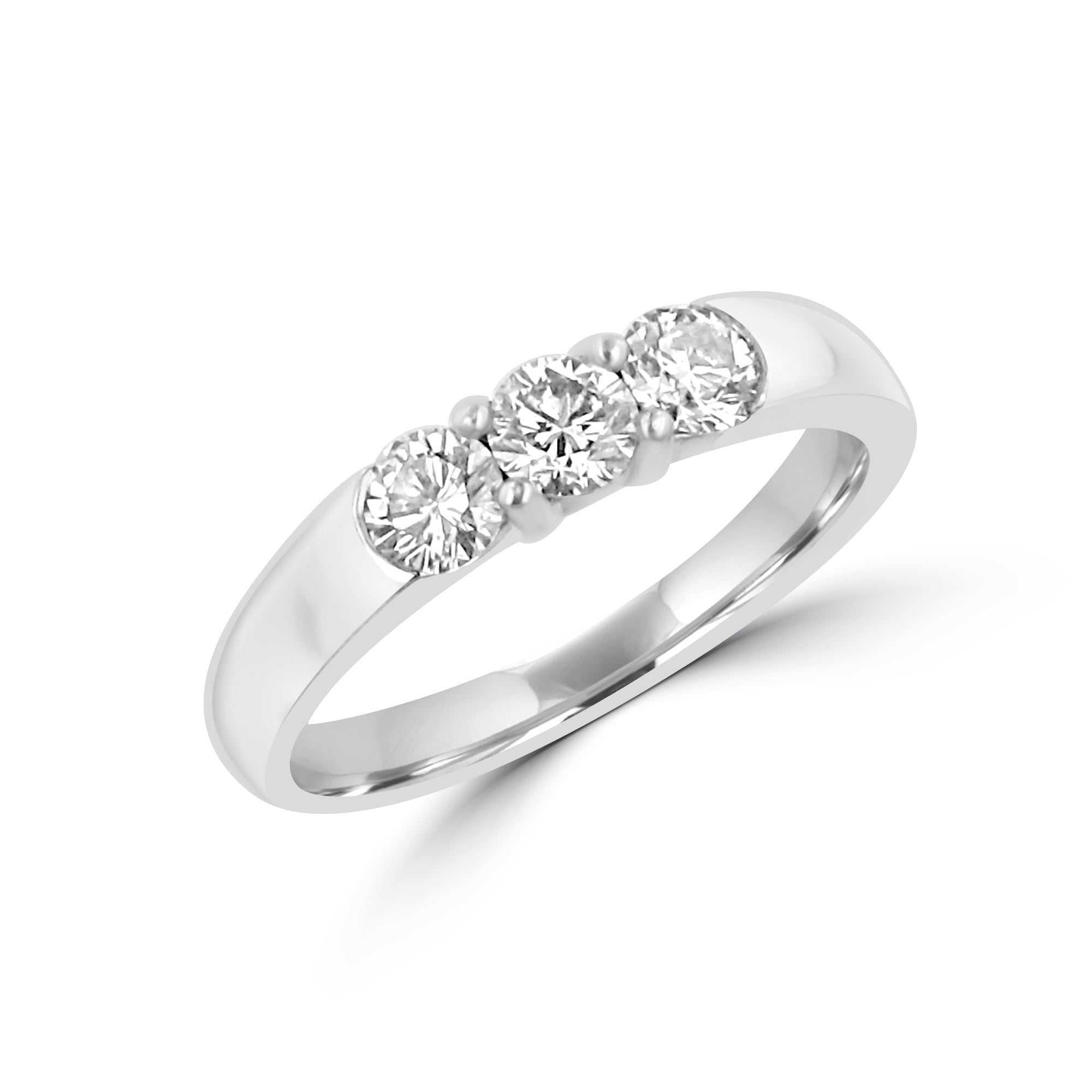 Pre-owned Trilogy Diamond Ring In Platinum
