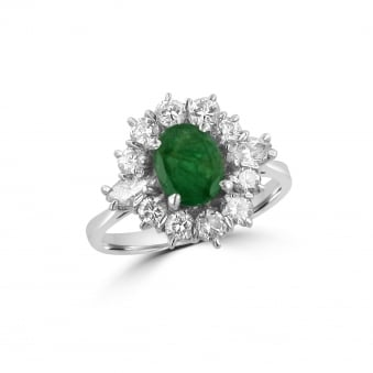 Pre-owned White Gold Emerald and Diamond Cluster Ring