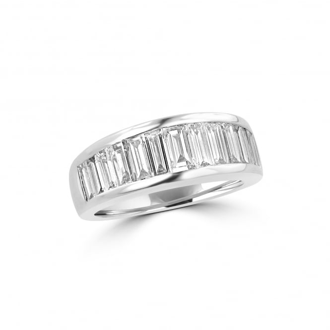 Pre-owned Wide Platinum Graduated Baguette Diamond Band Ring