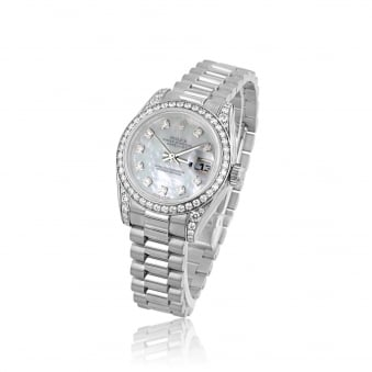 Pre-owned Womens 18ct White Gold Diamond Rolex Watch