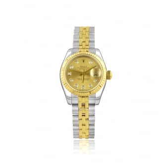 Pre-owned Womens Steel and Gold Rolex Oyster Perpetual DateJust Watch