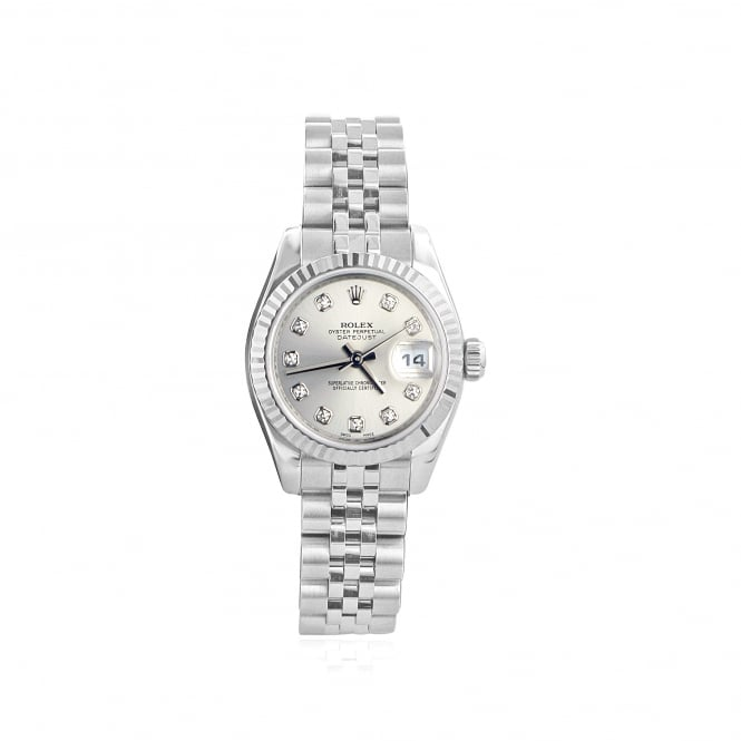 Rolex Pre-owned Womens Steel Watch with Diamond Dot Dial