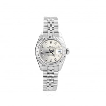 Pre-owned Womens Steel Rolex Watch with Diamond Dot Dial