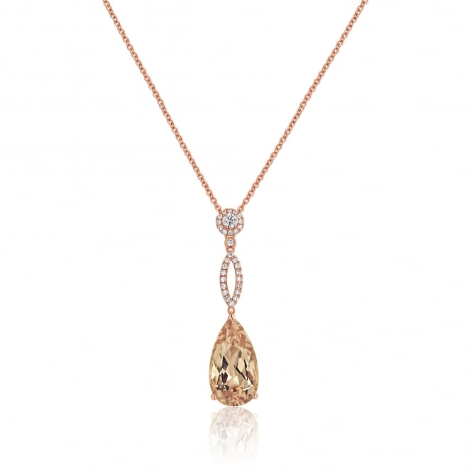 RESERVED Rose Gold Morganite and Diamond Necklace