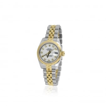 Pre-owned Womens Steel and 18ct Gold Rolex Diamond Dot Dial Watch