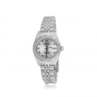 SOLD Womens Oyster Perpetual DateJust Rolex Watch in Steel with Silver Dial