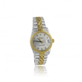 Women's Bi-Colour Rolex Midi Diamond Dot Dial