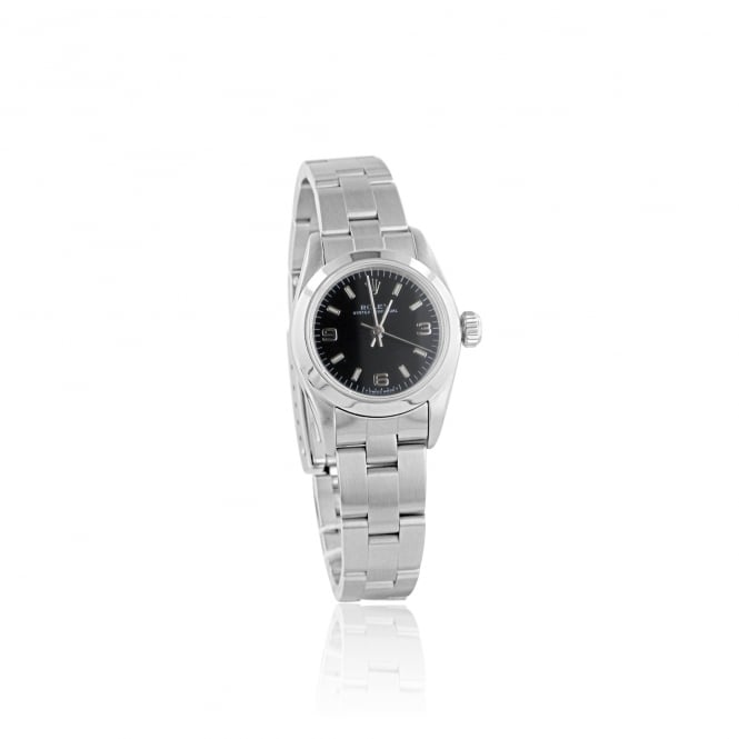 Rolex (Pre-owned) Women's Steel Rolex Watch With a Black Dial