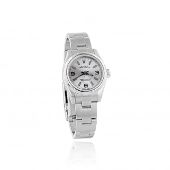 Women's Steel Rolex Watch With Silver Dial and Pink Batons