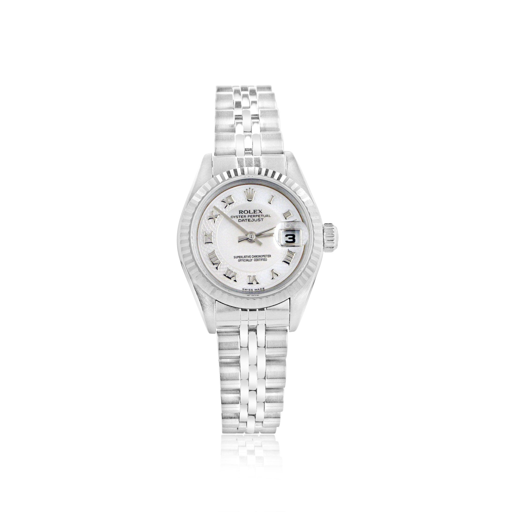 abd87e68161 Ladies Steel & 18ct White Gold Rolex Datejust With Mother of Pearl  Detailed Dial 79174