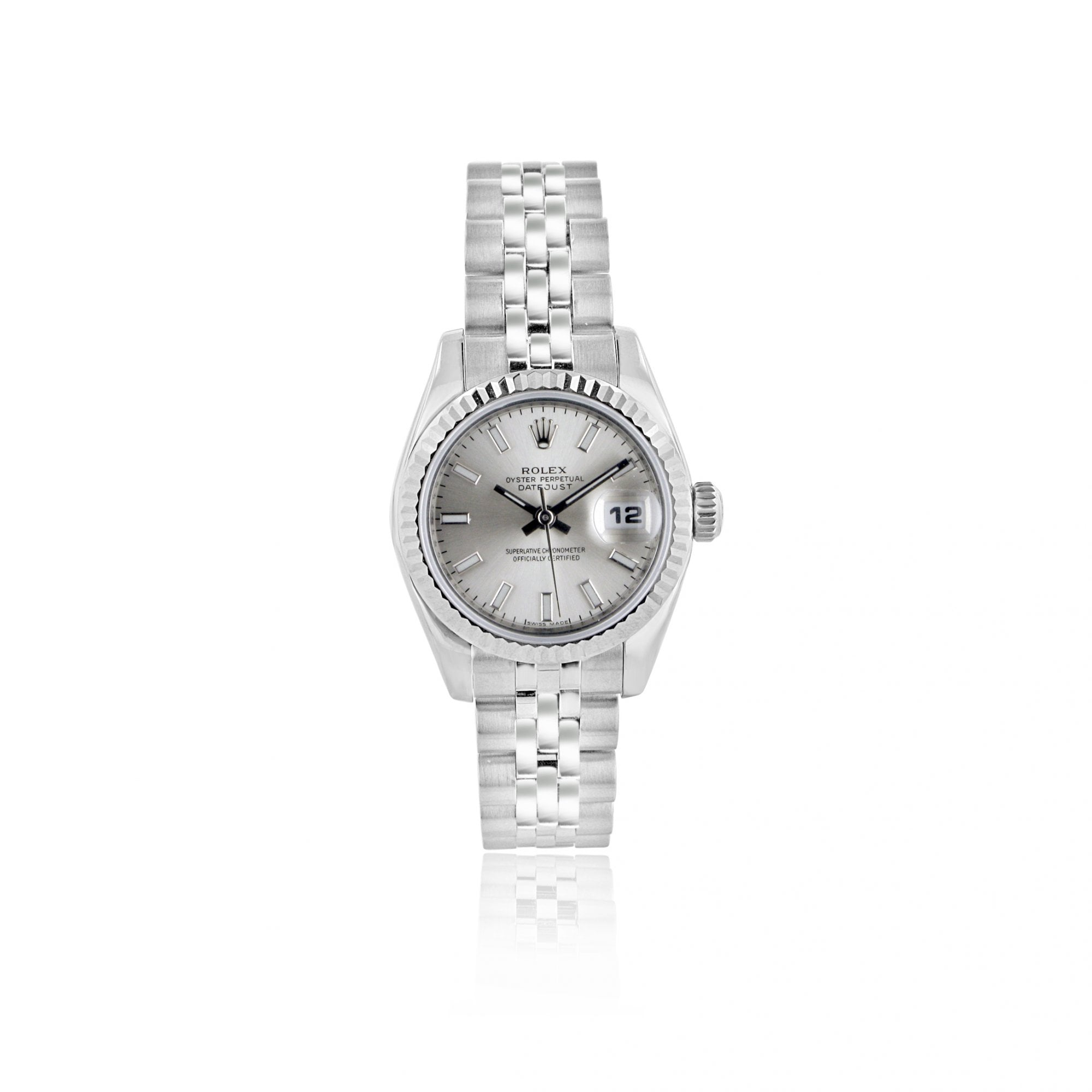 Ladies Steel \u0026 18ct White Gold Rolex Datejust With Silver Dial 179174
