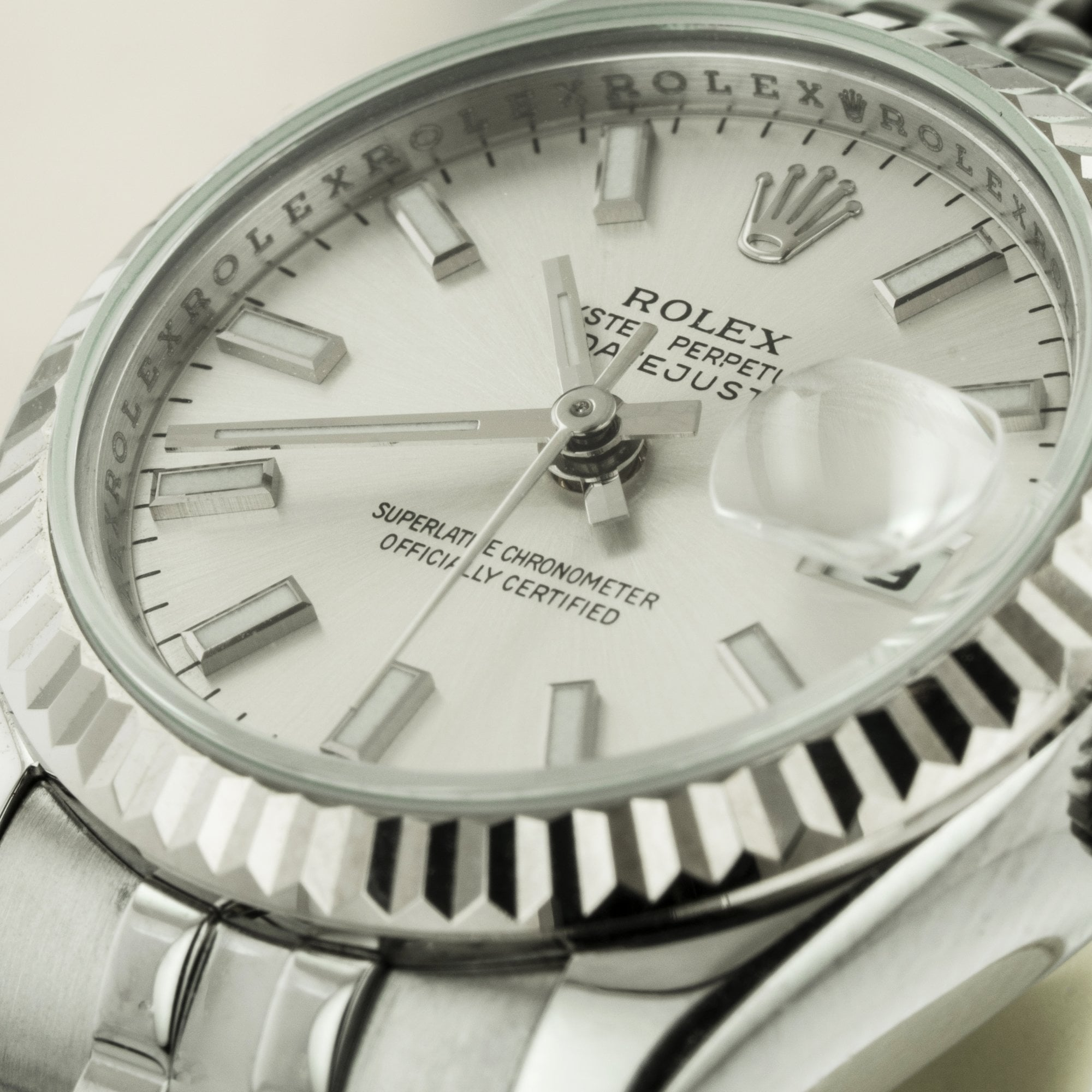 Rolex Watches (Pre,owned) Ladies Steel \u0026 18ct White Gold Rolex Datejust  With Silver Dial 179174
