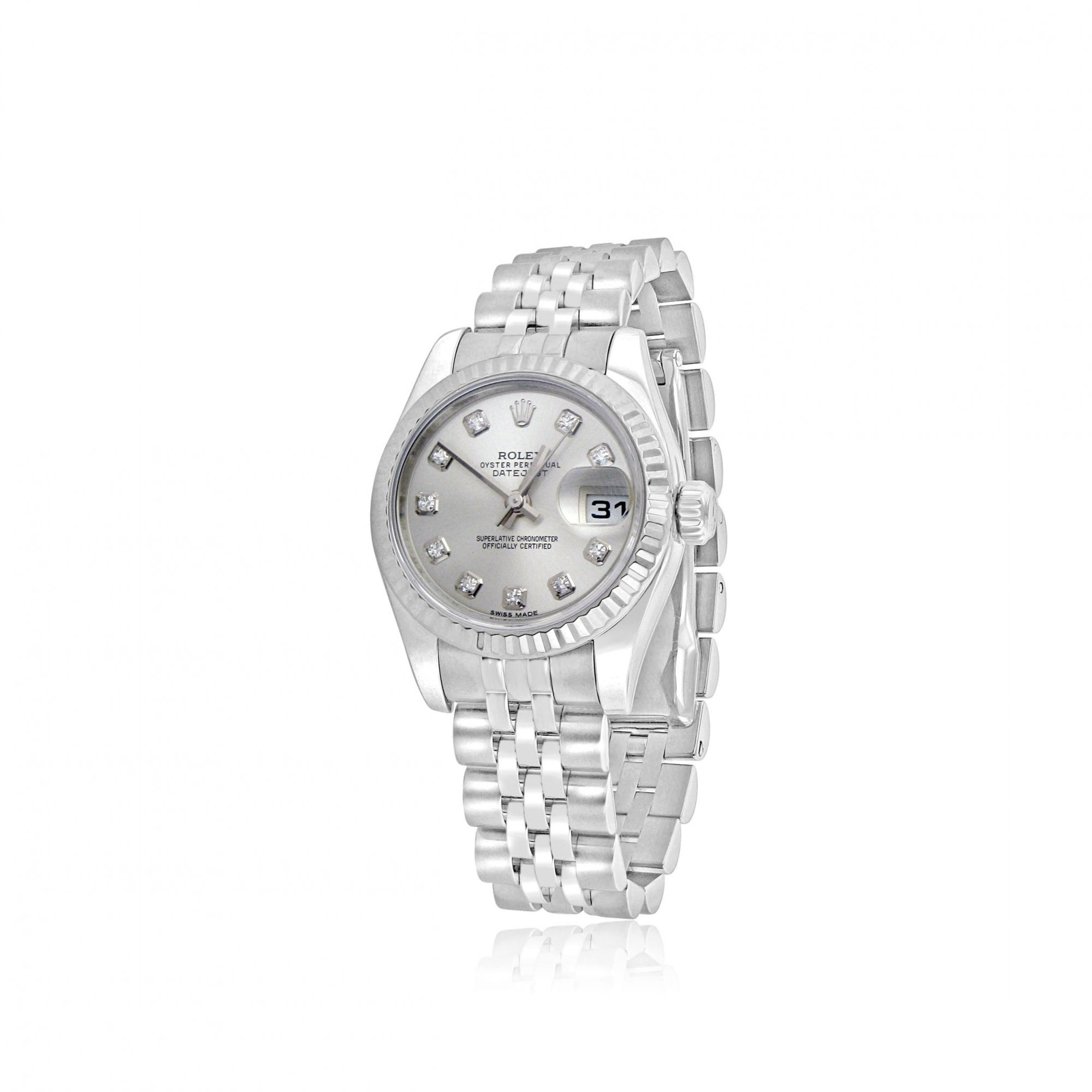 Rolex Watches (Pre,owned) Ladies Steel And 18ct White Gold Rolex Datejust  26 With Diamond Dot Dial 179174