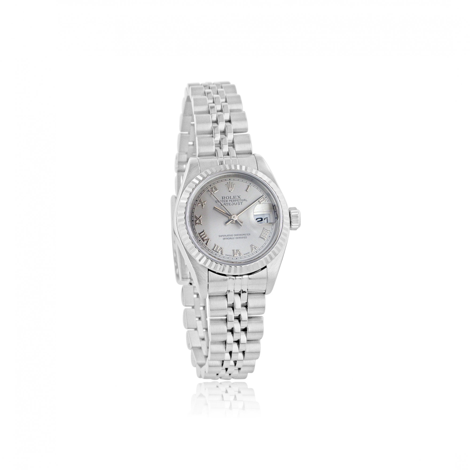 e9c50fa8dfa8f Ladies Steel And 18ct White Gold Rolex Datejust Watch With Silver Dial 79174