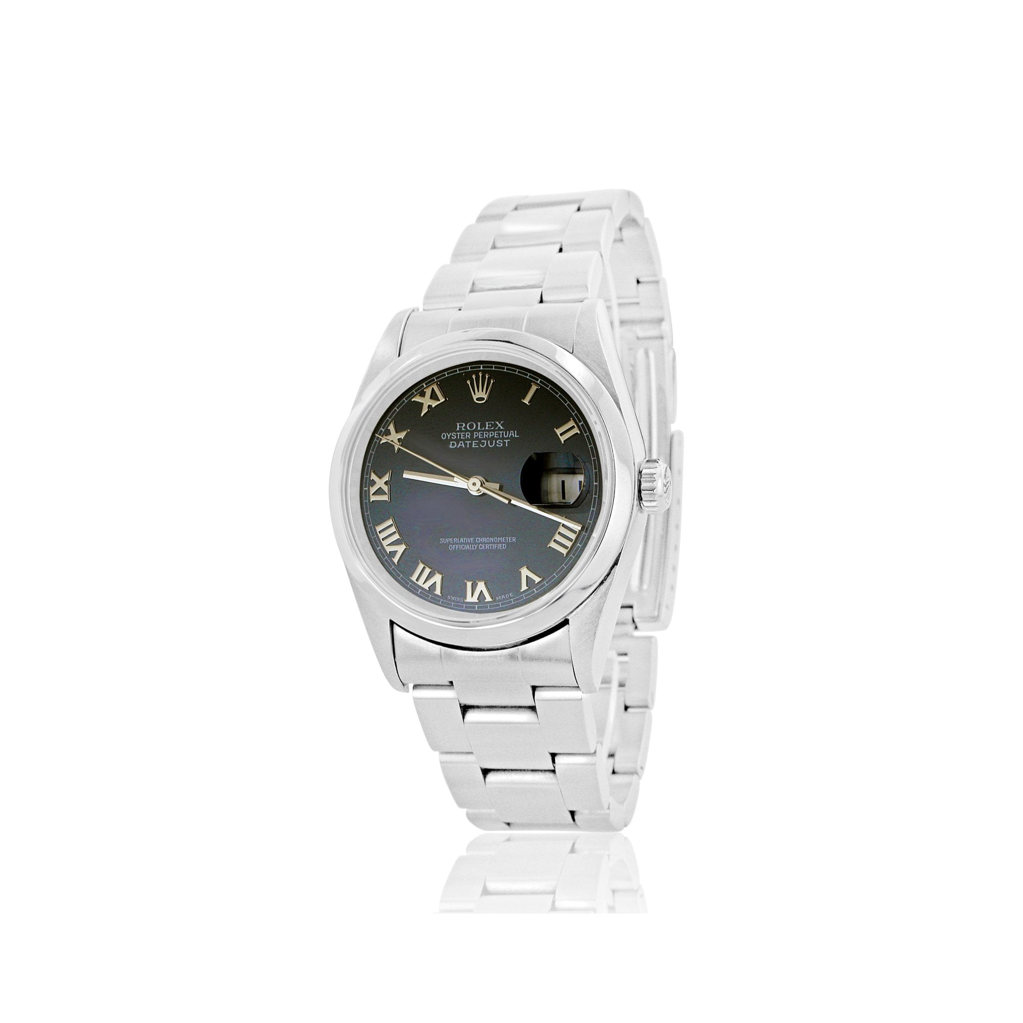 7d1474bf595 Steel Oyster Perpetual Datejust Rolex Watch With a Navy Blue Dial 36mm 16200