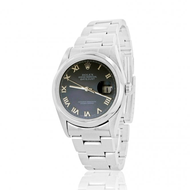 Steel Oyster Perpetual Datejust Rolex Watch With A Navy Blue Dial 36mm 16200