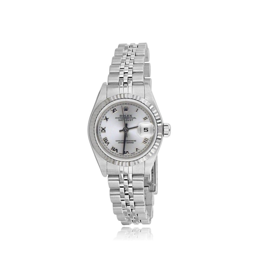 Womens Oyster Perpetual DateJust Rolex Watch in Steel with Silver Dial de124747c2