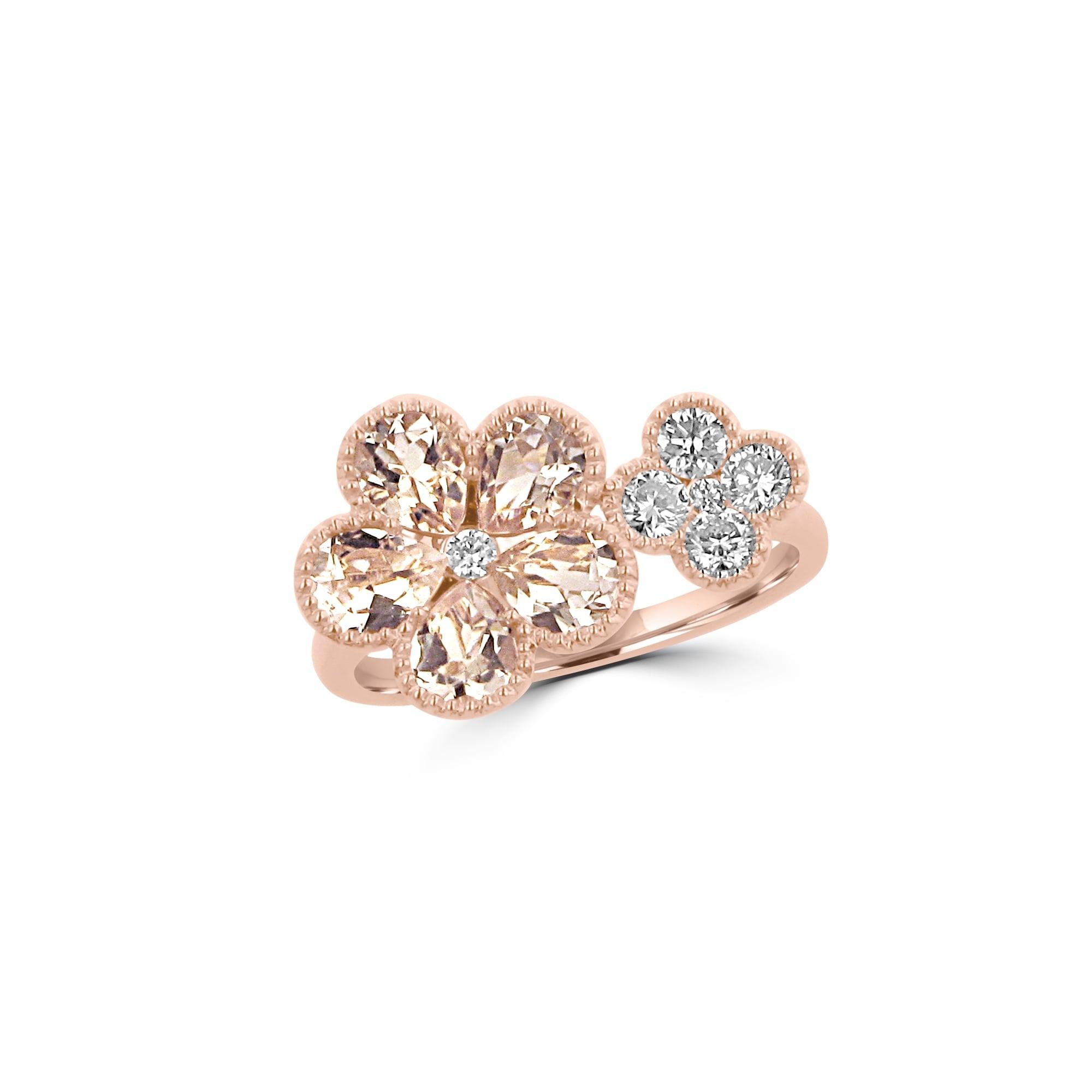 Rose Gold Morganite and Diamond Flower Ring - Womens from Avanti of  Ashbourne Ltd UK 32fb45f804