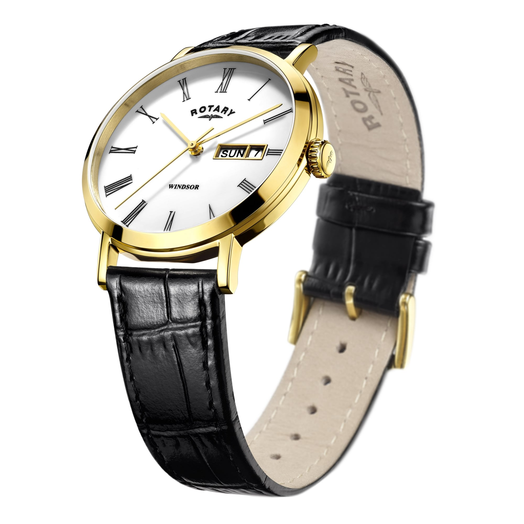 dc038276ae06 Rotary Watches Mens Gold Plated Clear Face Rotary Watch on a Leather ...