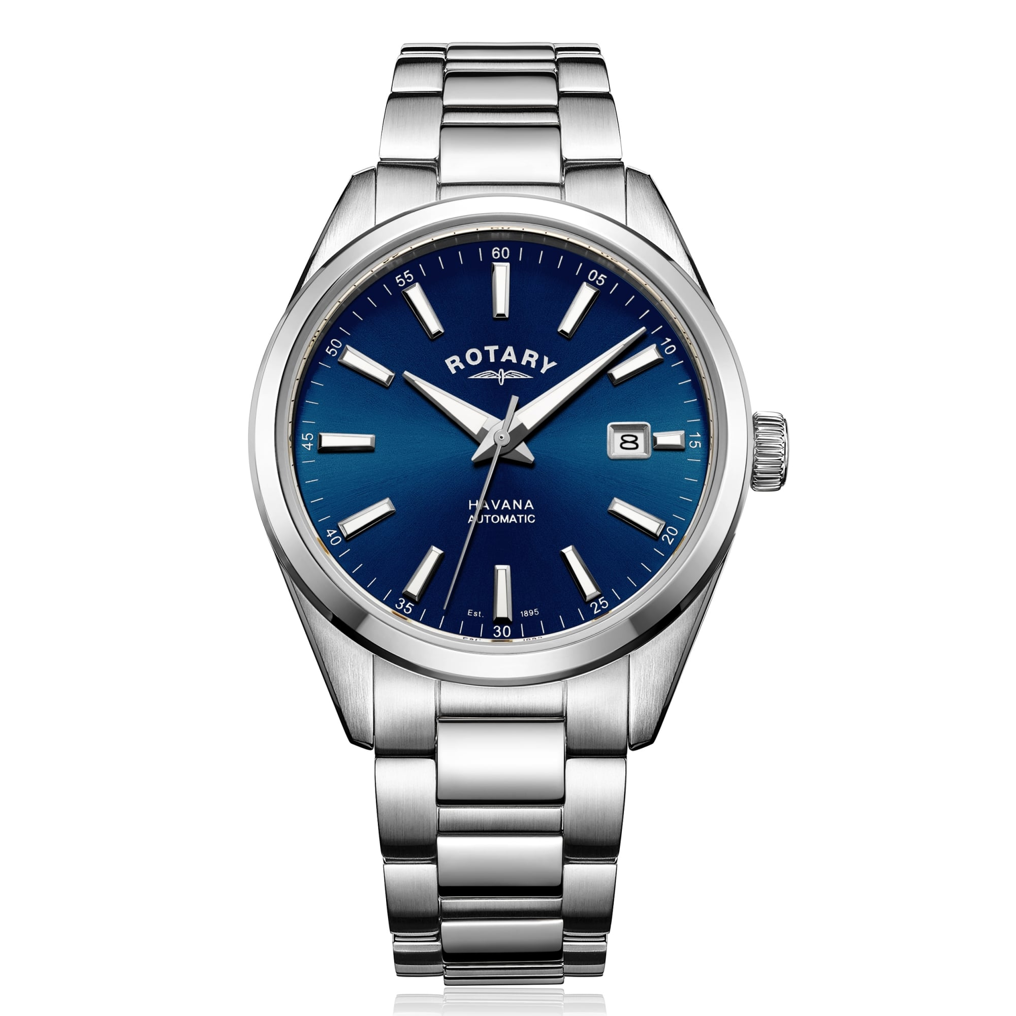 5405039e407 Rotary Watches Mens Steel Rotary Automatic Watch with Blue Dial ...