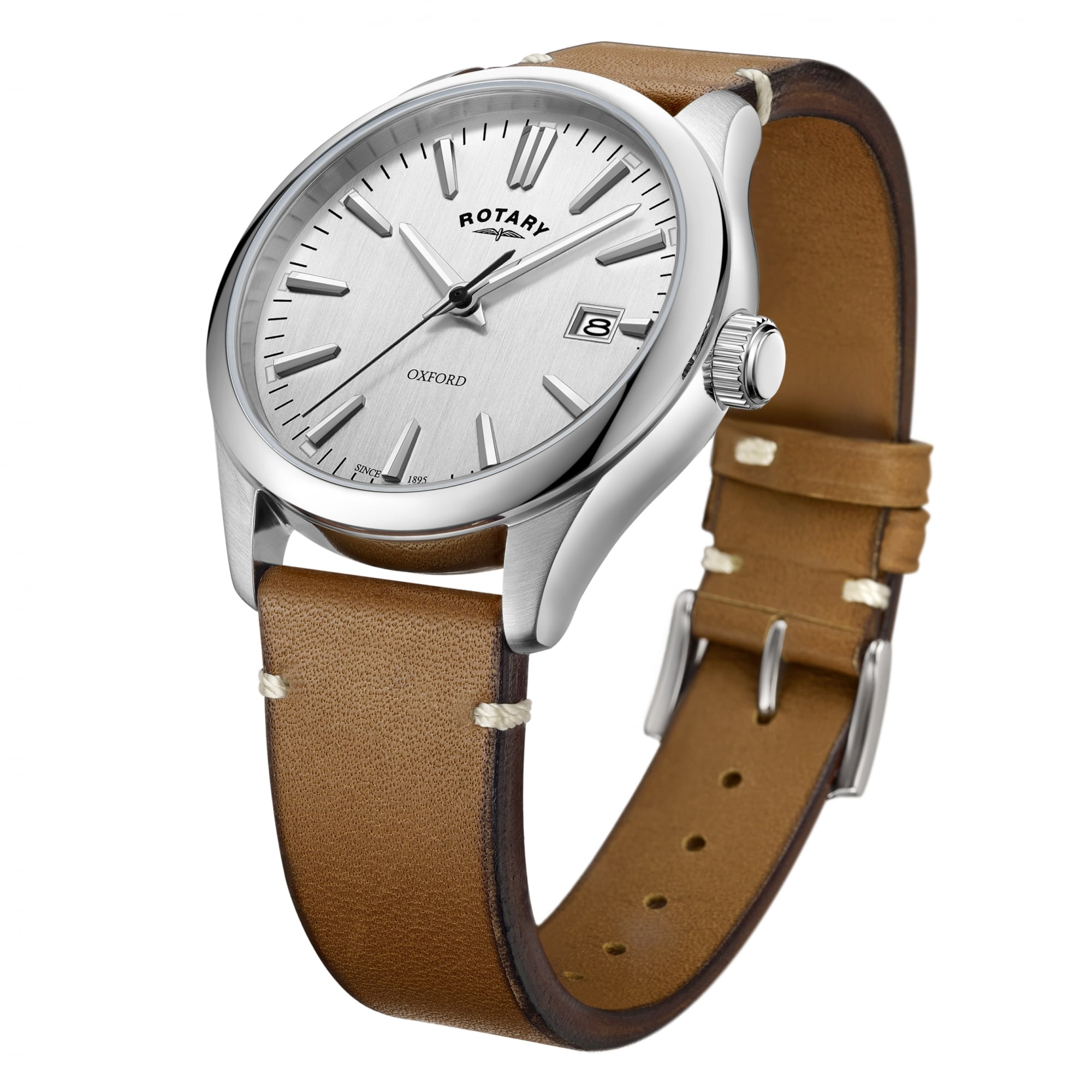 44b540f65 Rotary Watches Mens Steel Rotary Watch on a Tan Leather Strap - Mens ...