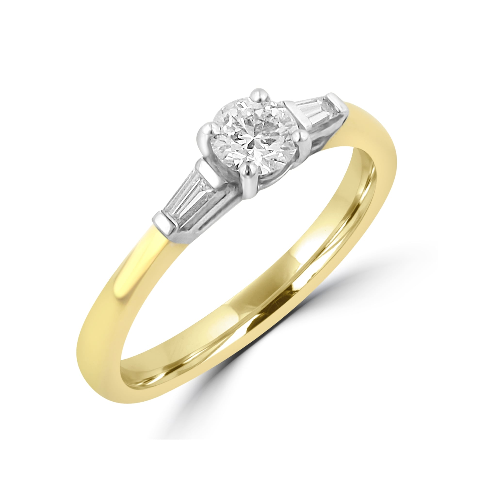 Round Baguette Diamond Engagement Ring 18ct Yellow Gold