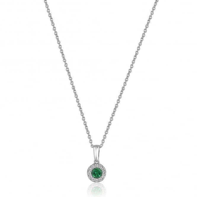 Round Emerald and Diamond Cluster Necklace PW3546 Emerald + CW366