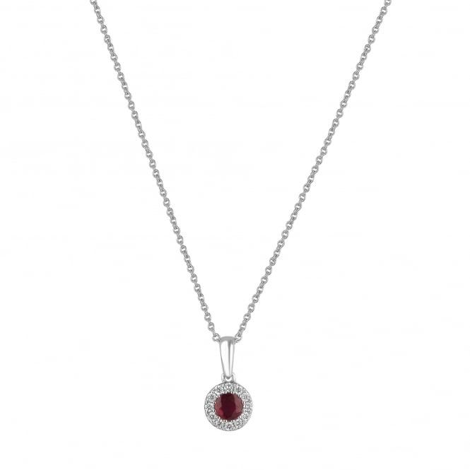 Round Ruby and Diamond Cluster Necklace