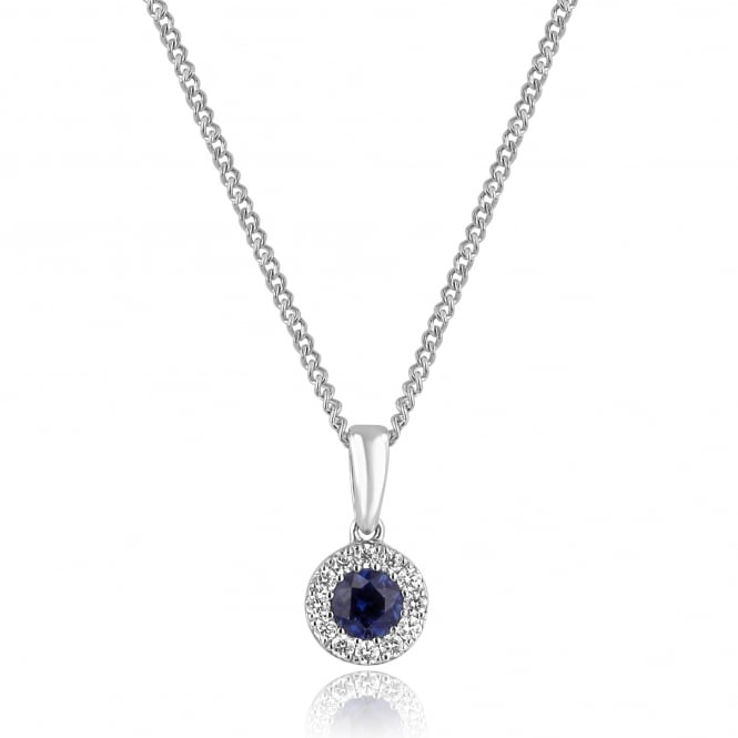 Round Sapphire and Diamond Cluster Necklace