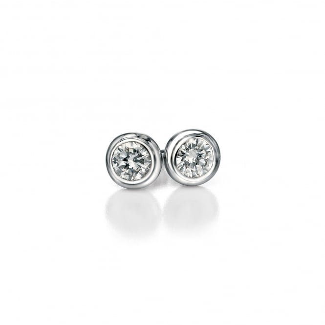 Fiorelli Round Silver Cubic Zirconia Stud Earrings E4870C