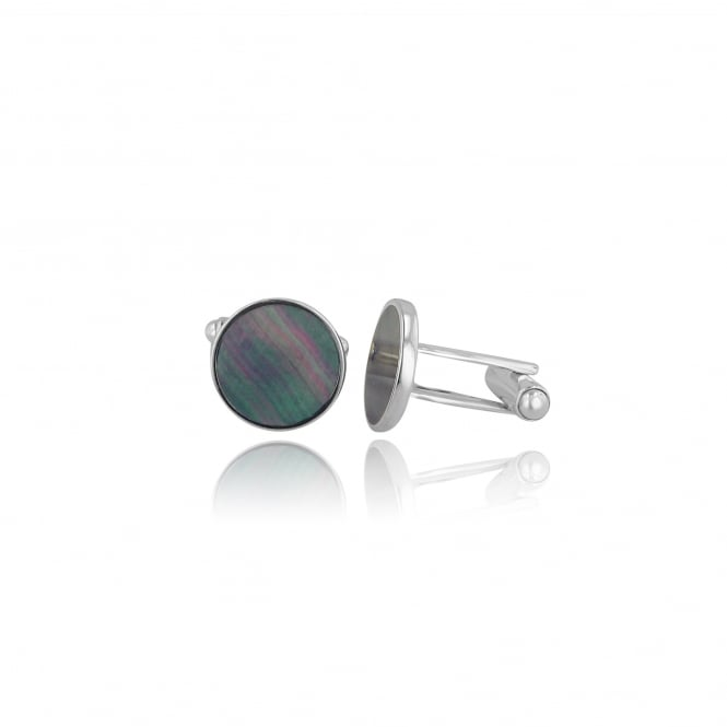Round Silver Grey Mother of Pearl Cufflinks AS35302
