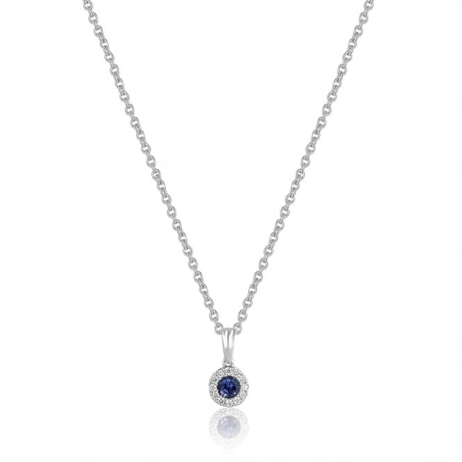 Round Tanzanite and Diamond Cluster Necklace