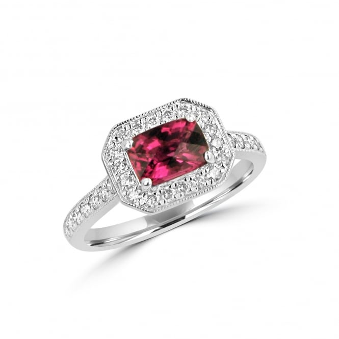 Rubellite Pink Tourmaline and Diamond Cluster Ring