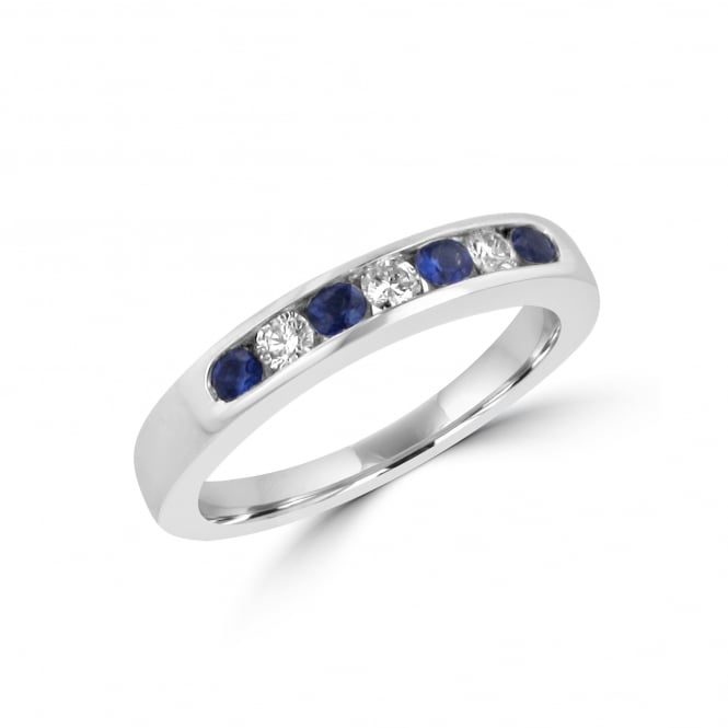 Sapphire and Diamond Seven Stone Band Ring