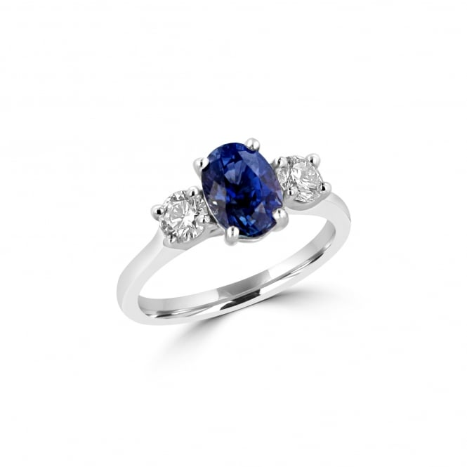 Sapphire and Diamond Three Stone Ring in Platinum RPD37133