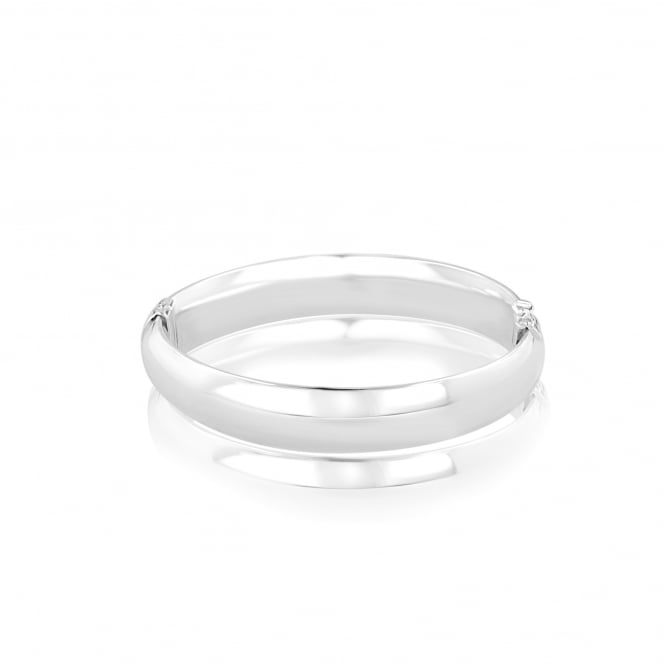 Silver 12mm Wide Side Hinged Bangle LS3640