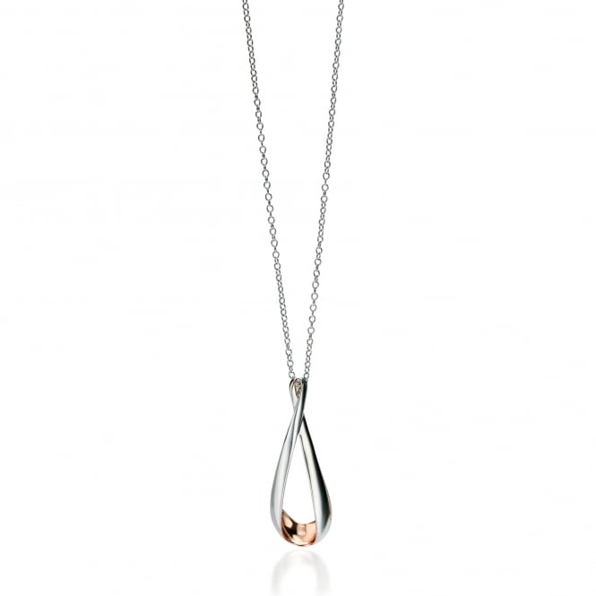 Fiorelli Silver and Rose Gold Plated Long Twisted Loop Pendant and Chain P4323