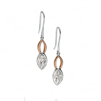 Silver and Rose Plated Fiorelli Cubic Zirconia Drop Earrings E5083C