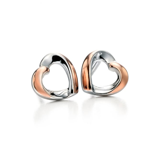 Fiorelli Silver and Rose Plated Heart Stud Earrings E5086
