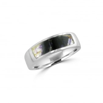Silver Band Ring Set With Blue John RSO1498