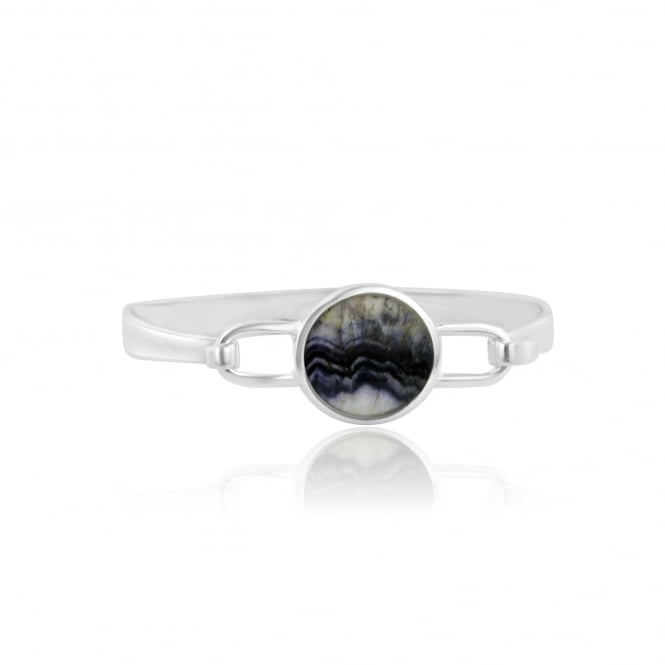 Silver Bangle Set With Round Derbyshire Blue John