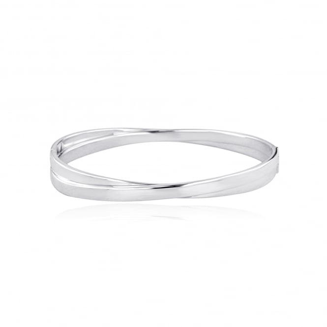 Silver Crossover Side Hinged Bangle LS3647