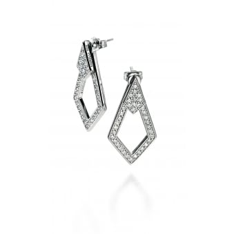 Silver Fiorelli Geometric Kite Shape Cubic Zirconia Grain Set drop Earrings E5070C