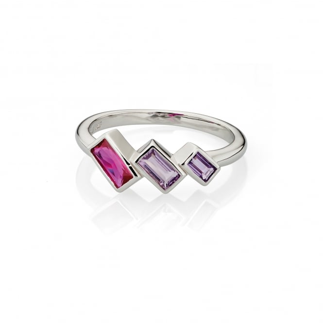 Fiorelli Silver Pink and Purple Crystal Ring R3490