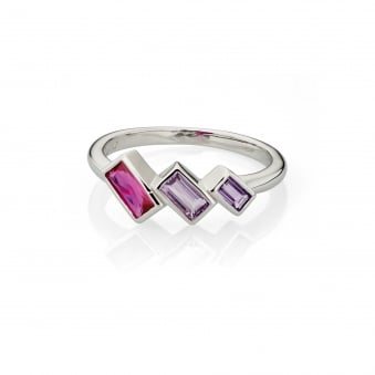 Silver Fiorelli Pink and Purple Crystal Ring R3490